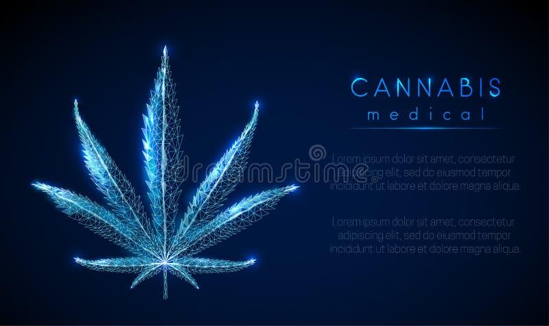 Medyczna marihuana Marihuana li?? Niski poli- stylowy projekt ilustracja wektor