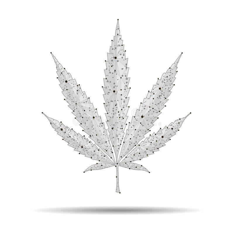 Medyczna marihuana, marihuana logo abstrakcjonistyczny poligonalny wizerunek ilustracja wektor