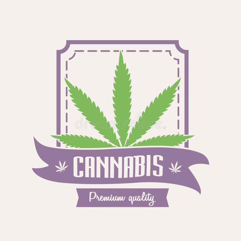 Medyczna marihuana Marihuana logo lub odznaka szablon z liściem royalty ilustracja