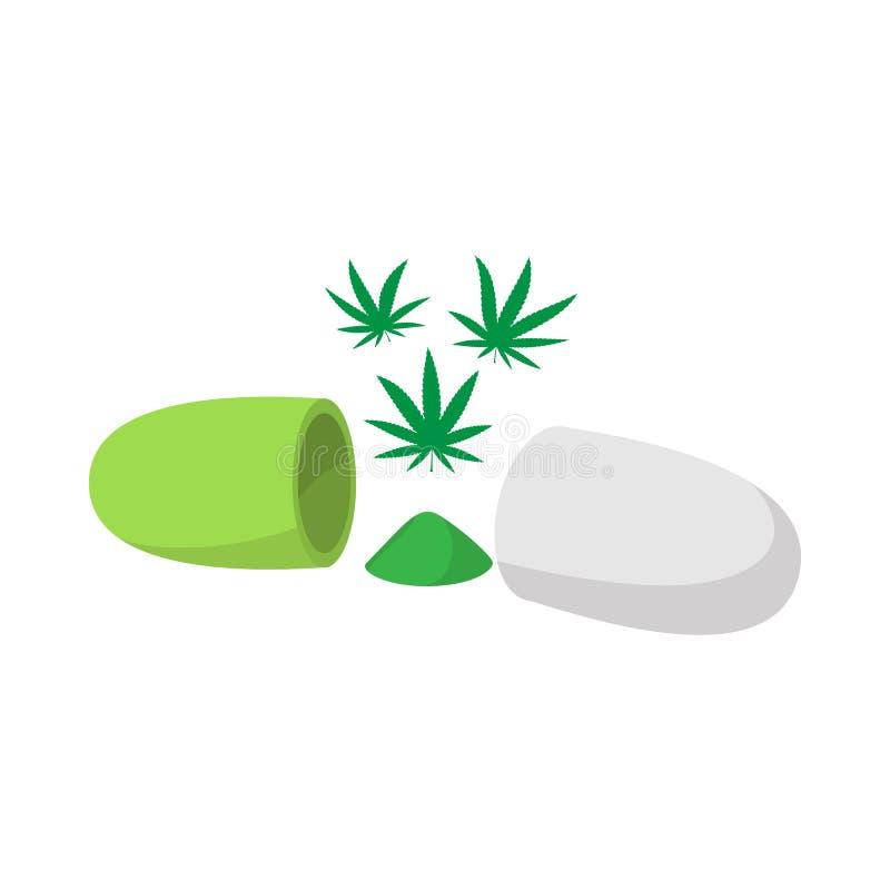 Medyczna marihuany pigułki ikona, isometric 3d styl royalty ilustracja