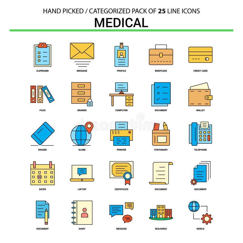 Medyczna mieszkanie linii ikona Ustawiająca - Biznesowy pojęcie ikon projekt ilustracji