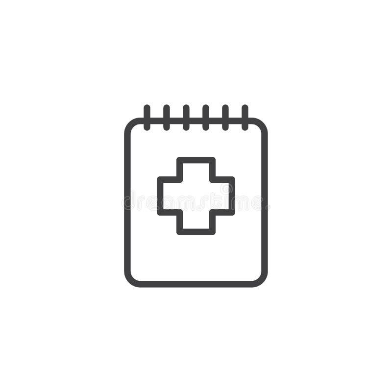 Medyczna notepad konturu ikona royalty ilustracja