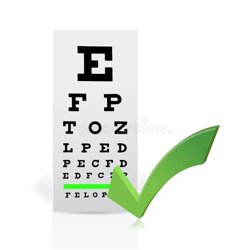 Medyczna oko mapa z checkmark. Dobry wzrok ilustracja wektor