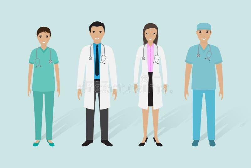 Medyczna pięcioliniowa grupa Samiec i kobiety lekarki, pielęgniarka, medyczny ordynans royalty ilustracja