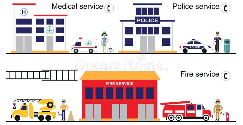 Medyczna policja i pożarnicza usługa royalty ilustracja