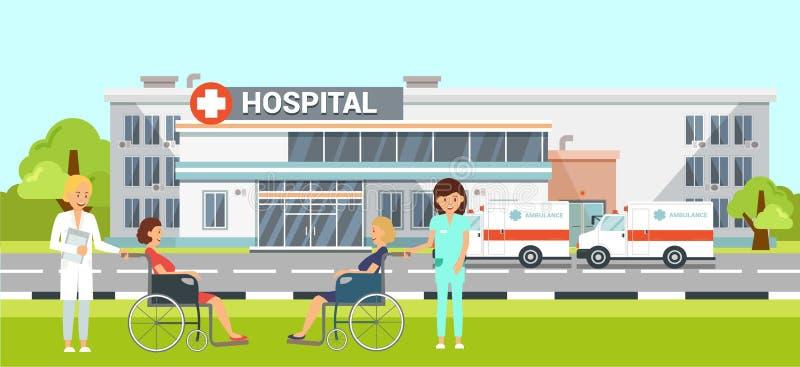 Medyczna pomoc w Szpitalnej Płaskiej Wektorowej ilustracji royalty ilustracja