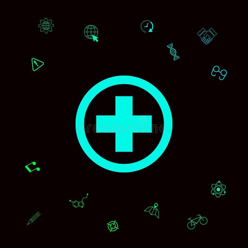 Medyczna przecinająca ikona Graficzni elementy dla twój designt ilustracja wektor
