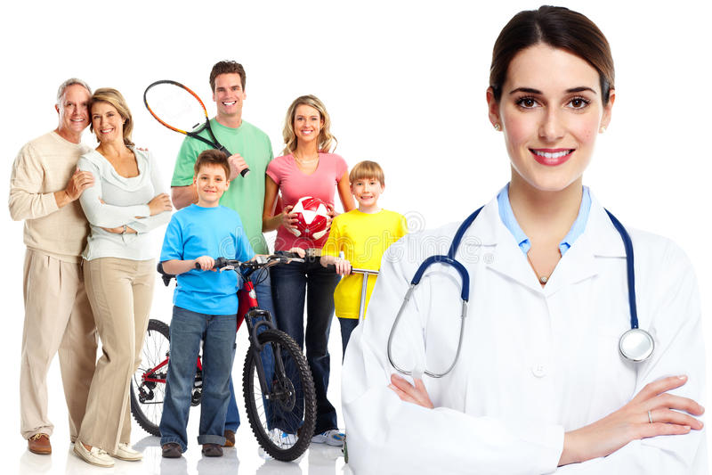 Medyczna rodzinna lekarka i pacjenci zdjęcia royalty free