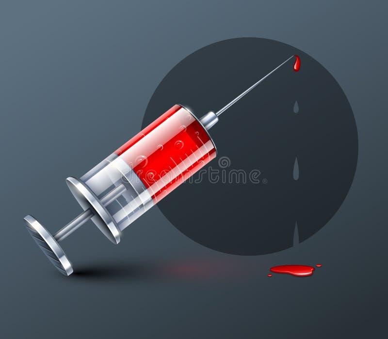 Medyczna strzykawka z krwionośnymi kroplami ilustracja wektor