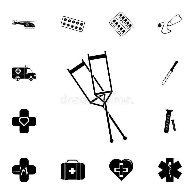 Medyczna szczudło ikona Szczegółowy set medycyn ikony Premii ilości graficznego projekta znak Jeden inkasowe ikony dla websit ilustracja wektor