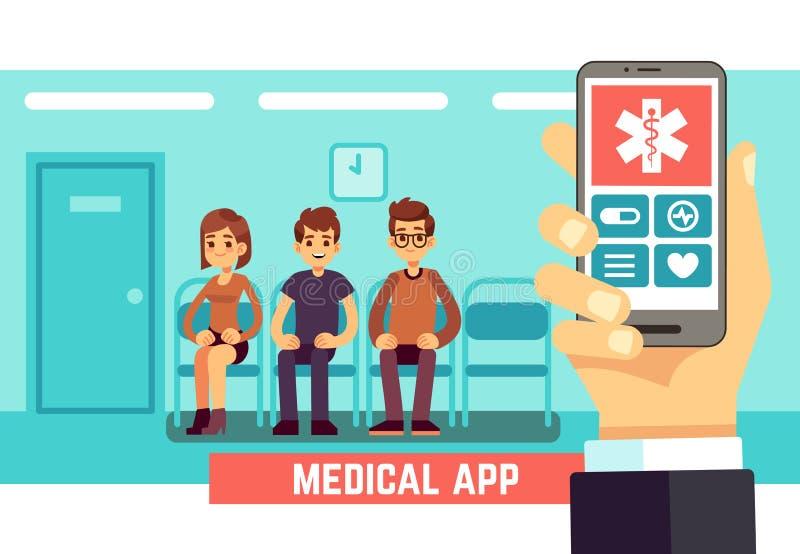 Medyczna telefon wisząca ozdoba app Opieka zdrowotna i szpitala wektorowy pojęcie z lekarkami i pacjentami ilustracji