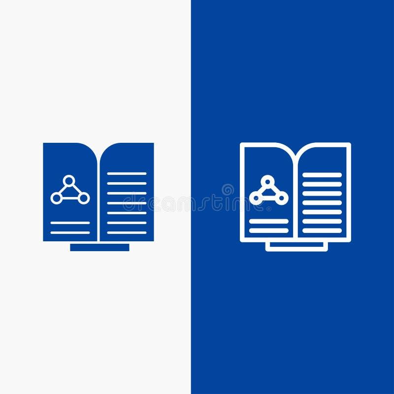 Medyczna, test, raport, książki linia i glif Stałej ikony sztandaru glifu, Błękitnej ikony błękita Stały sztandar ilustracja wektor