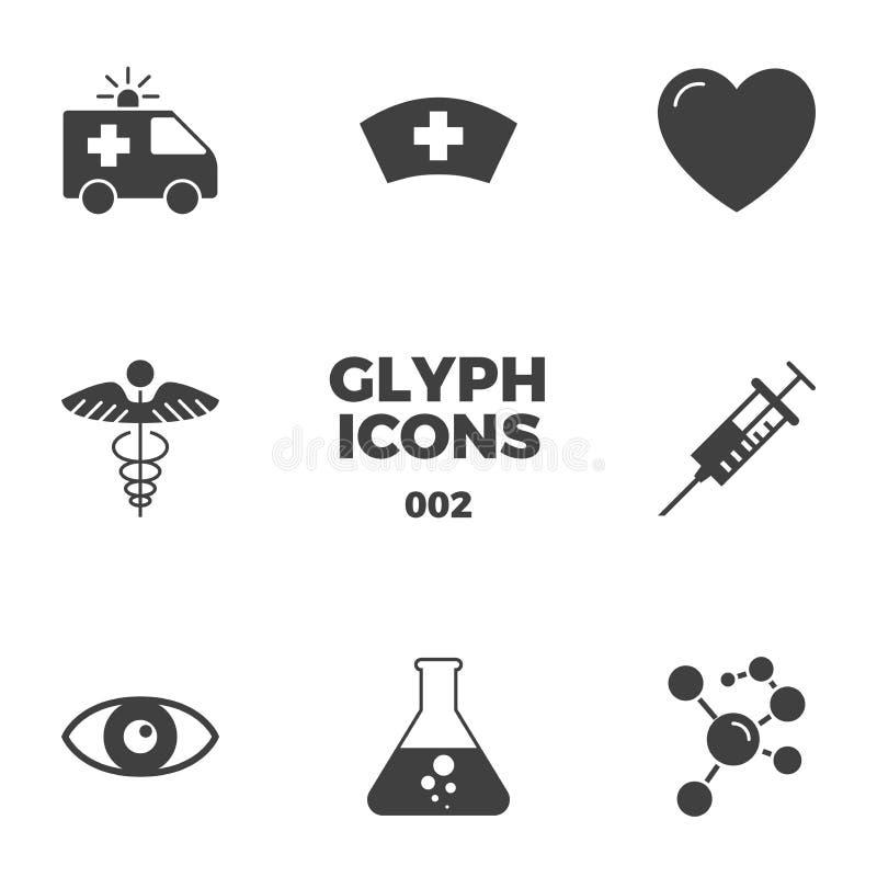Medyczne glif ikony Ustawiać ilustracji
