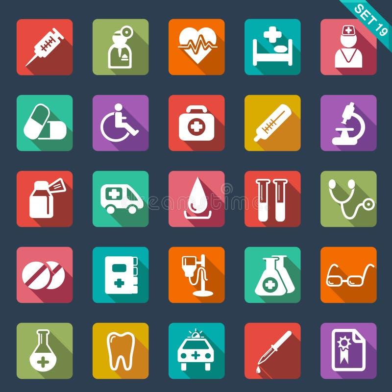 Medyczne i opieka zdrowotna ikony ilustracja wektor