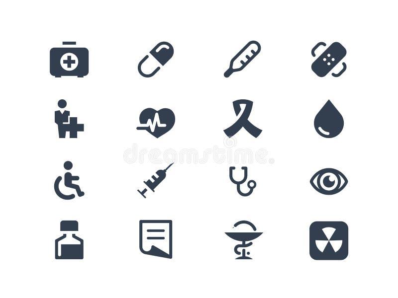 Medyczne i opieka zdrowotna ikony ilustracji