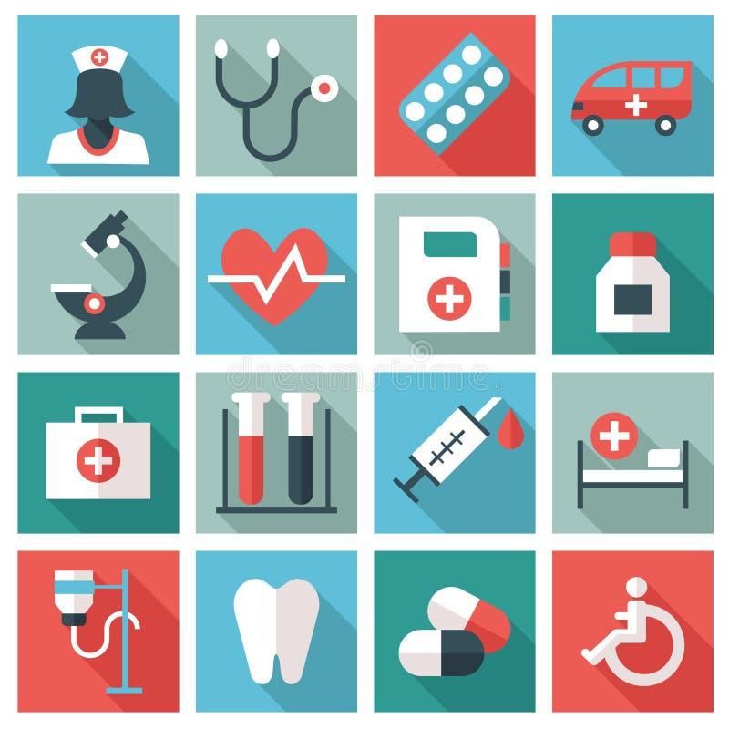 Medyczne i opieka zdrowotna ikony royalty ilustracja