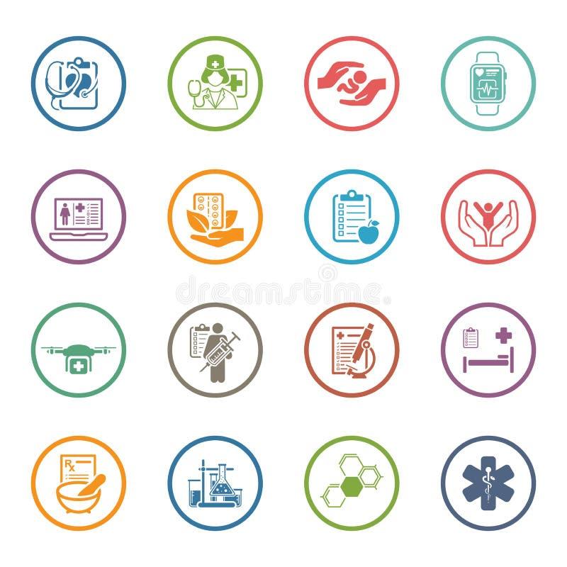 Medyczne i opieka zdrowotna ikony ustawiać Płaski projekt ilustracji