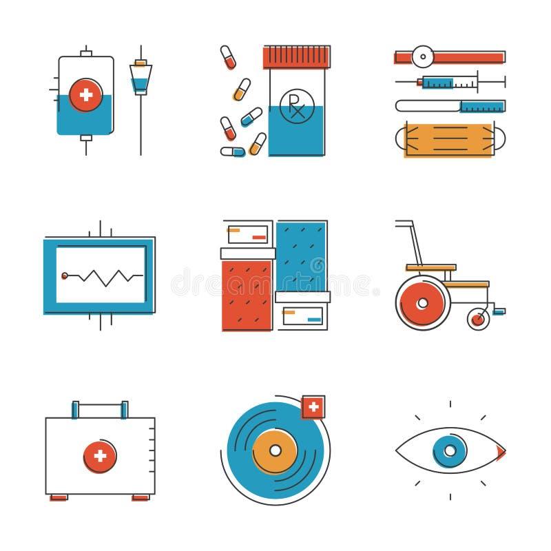 Medyczne i opieka zdrowotna kreskowe ikony ustawiać royalty ilustracja