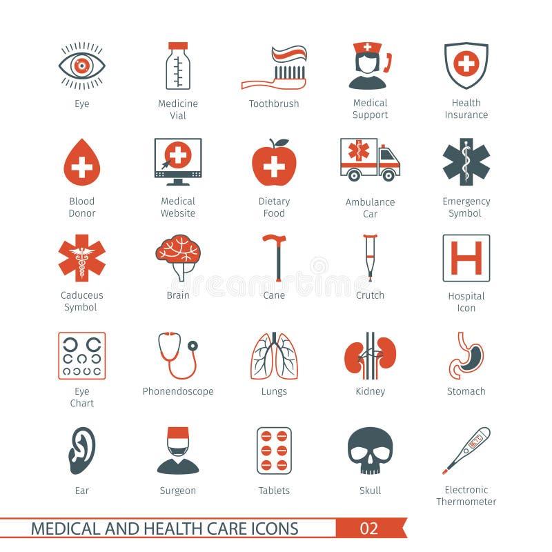 Medyczne ikony Ustawiają 02 ilustracji