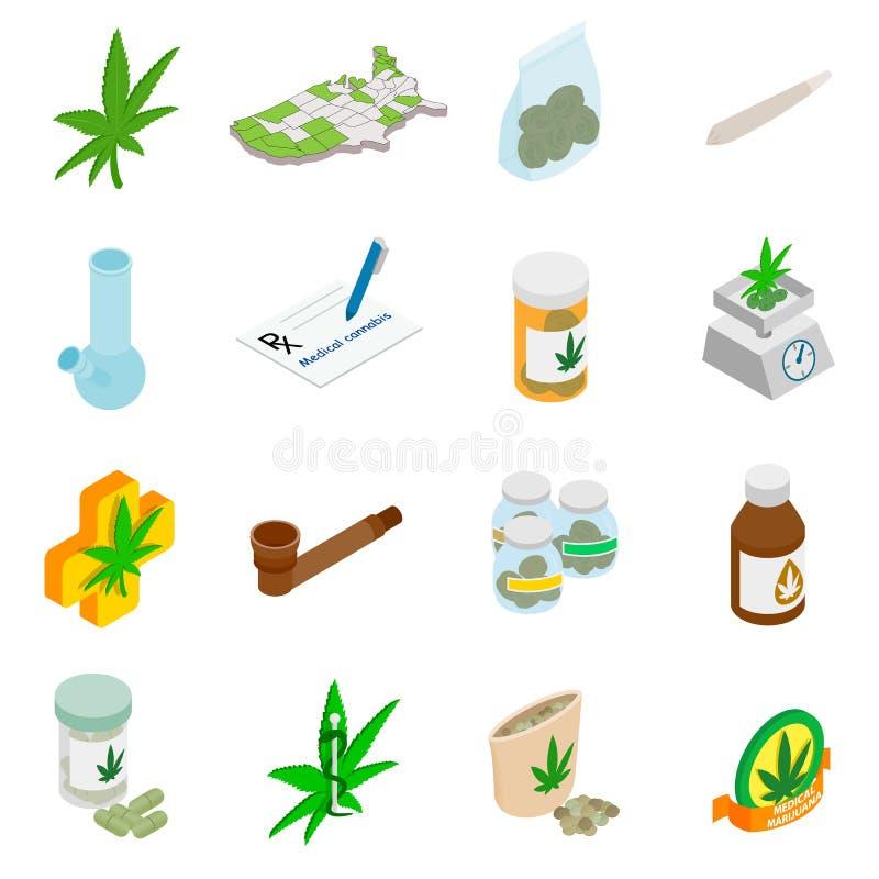 Medyczne marihuan ikony royalty ilustracja