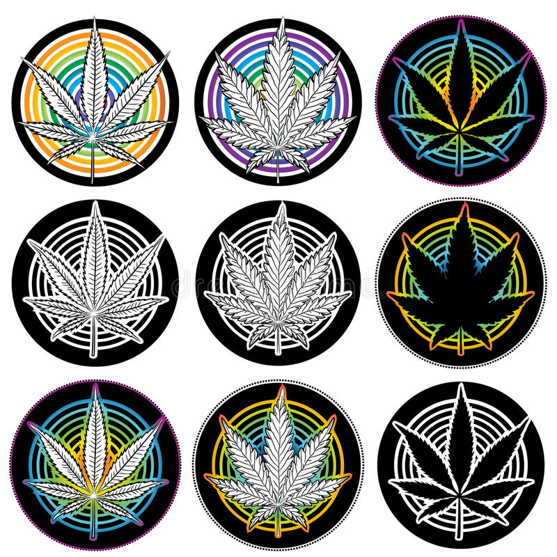 Medyczne marihuana liścia symbolu odznaki  ilustracja wektor