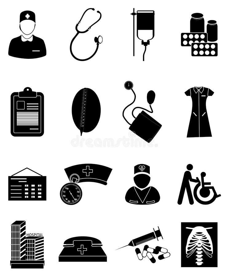 Medyczne opiek zdrowotnych ikony ustawiać ilustracja wektor
