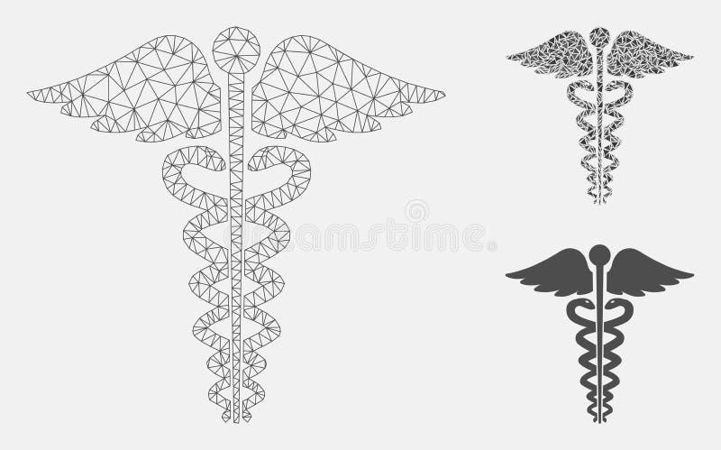 Medycznego kaduceuszu emblemata siatki ścierwa trójboka i modela mozaiki Wektorowa ikona royalty ilustracja