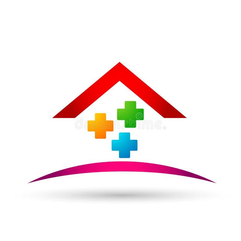 Medycznego opieka zdrowotna domu domu clinc szpitalny budynek, symbol ikony projekta wektor na białym tle royalty ilustracja