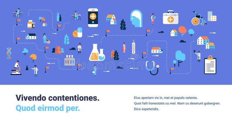 Medycznego opieka zdrowotna produktów medycyny mapy isometric pojęcia laborancki wyposażenie fabrykuje postać z kreskówki i pielę royalty ilustracja