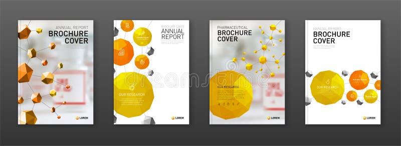Medycznej broszurki okładkowi szablony ustawiający royalty ilustracja