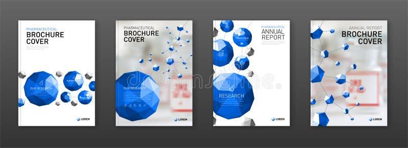 Medycznej broszurki okładkowi szablony ustawiający ilustracja wektor