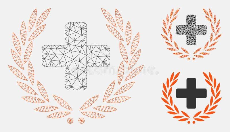 Medycznej chwały siatki sieci trójboka i modela mozaiki Wektorowa ikona royalty ilustracja
