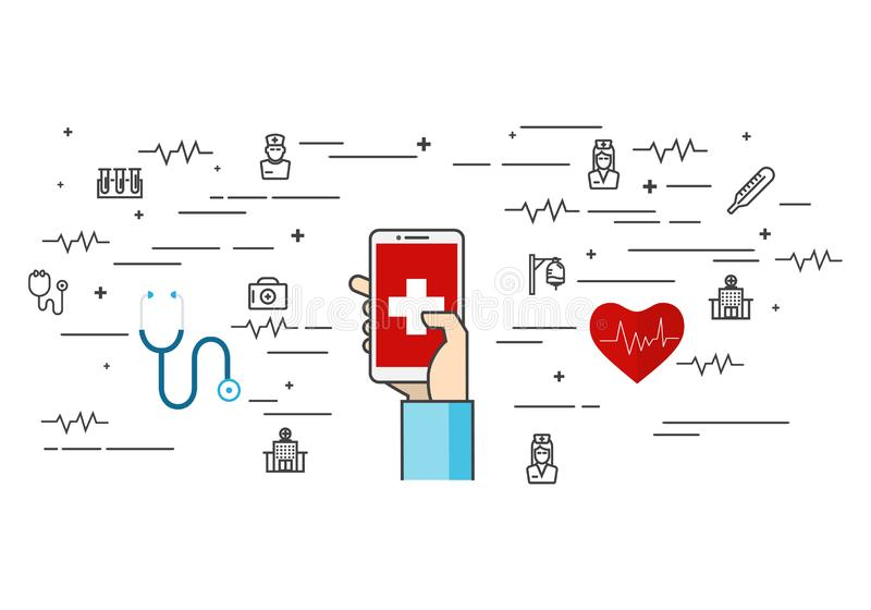 Medycznej elementu mieszkania linii ustalone ikony ilustracyjne ilustracja wektor