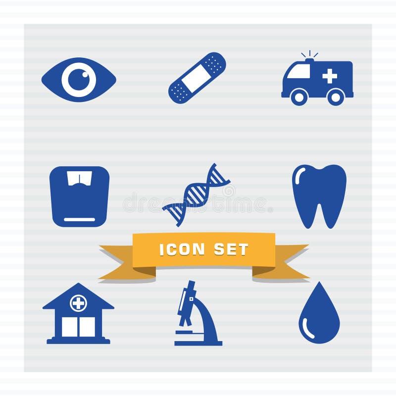 Medycznej ikony mieszkania ustalony styl ilustracji