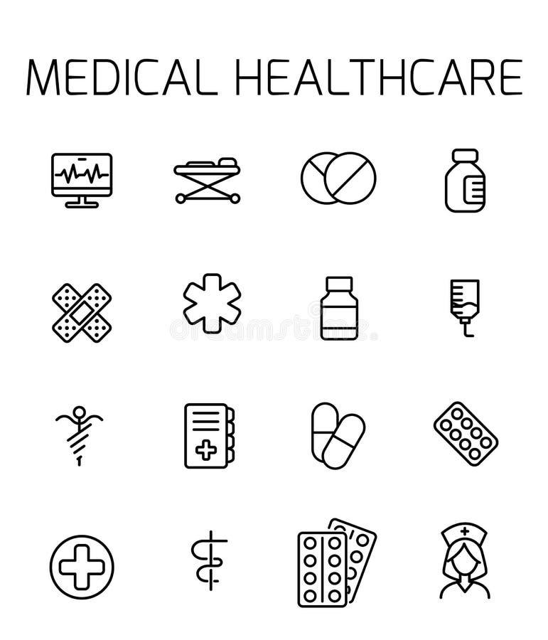 Medycznej opieki zdrowotnej ikony powiązany wektorowy set ilustracji