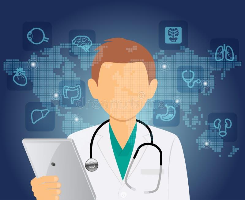 Medycznej opieki zdrowotnej lekarki Online konsultacja ilustracja wektor