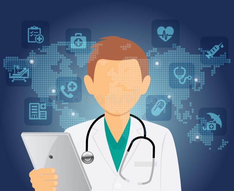 Medycznej opieki zdrowotnej lekarki Online konsultacja royalty ilustracja