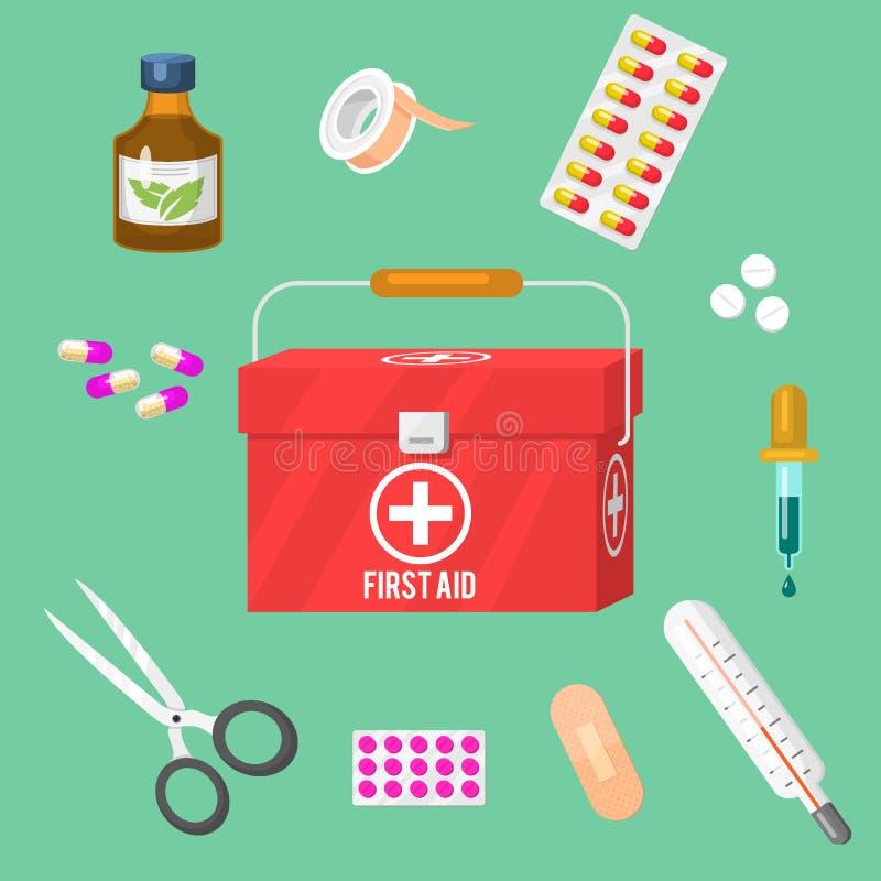 Medyczni instrumenty i doktorski narzędzia medicament w kreskówce projektują lekarstw zdrowie traktowania szpitalnego wektor ilustracji