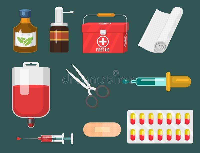 Medyczni instrumenty i doktorski narzędzia medicament w kreskówce projektują lekarstw zdrowie traktowania szpitalnego wektor royalty ilustracja