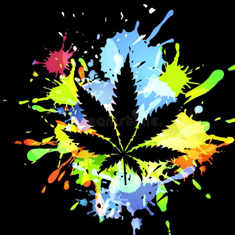 Medyczni marihuana atramentu kleksy ilustracja wektor