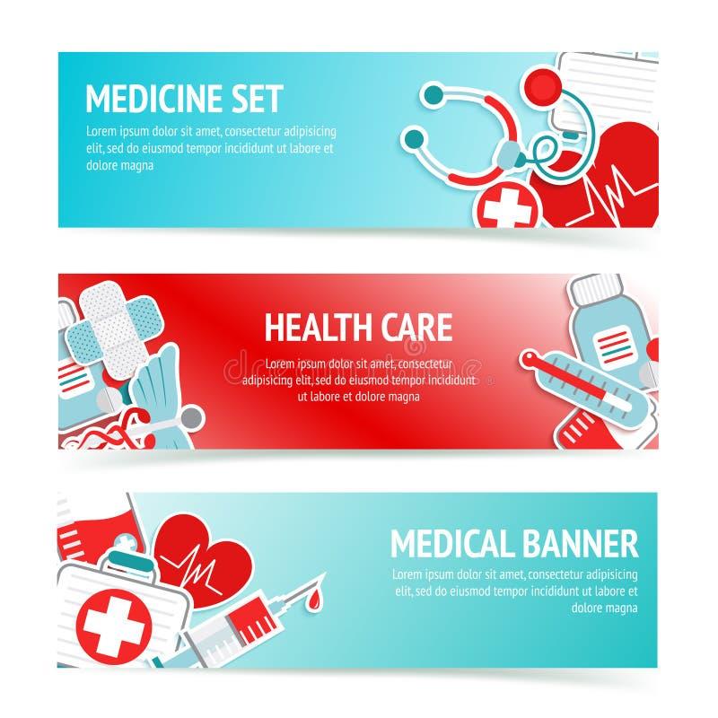 Medyczni opieka zdrowotna sztandary ilustracja wektor