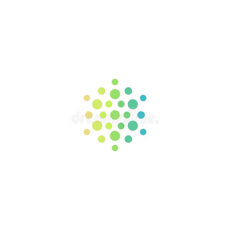 Medyczny abstrakcjonistyczny wektorowy symbol, kółkowa jaskrawa halftone ikona Nowa technologia logo ilustracji