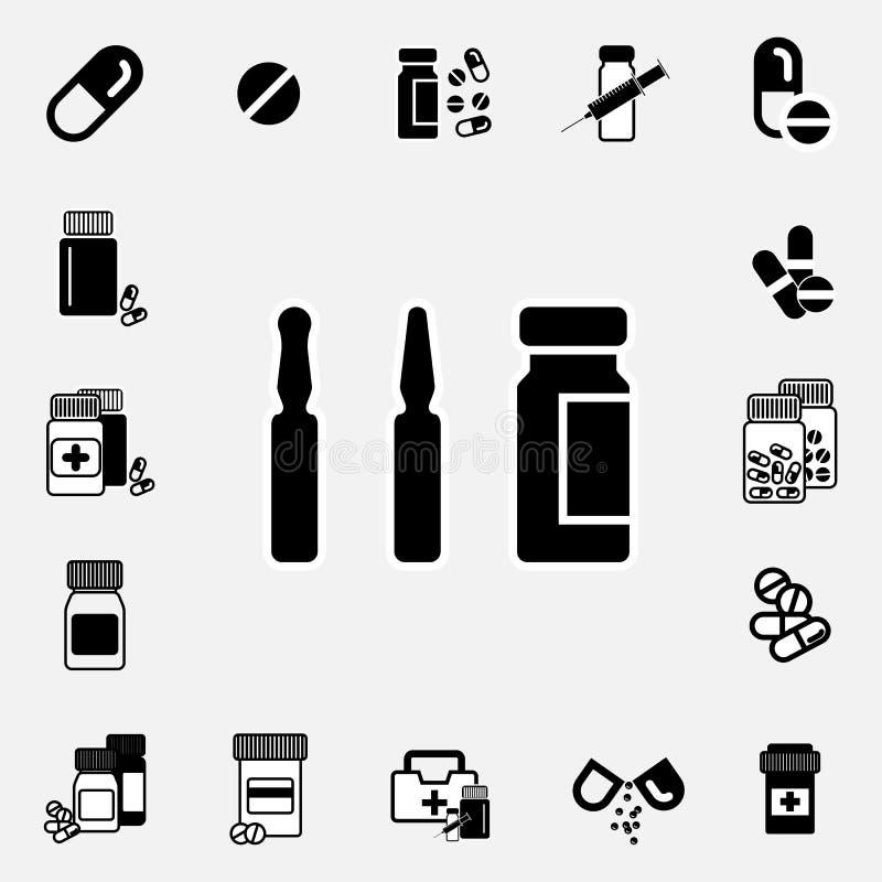Medyczny ampułki lub szczepionki ikony set ilustracja wektor