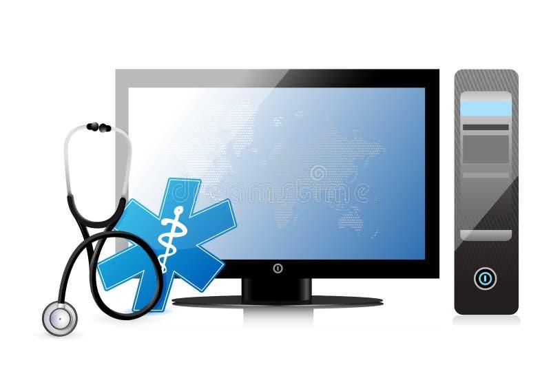 Medyczny app z komputerem ilustracji