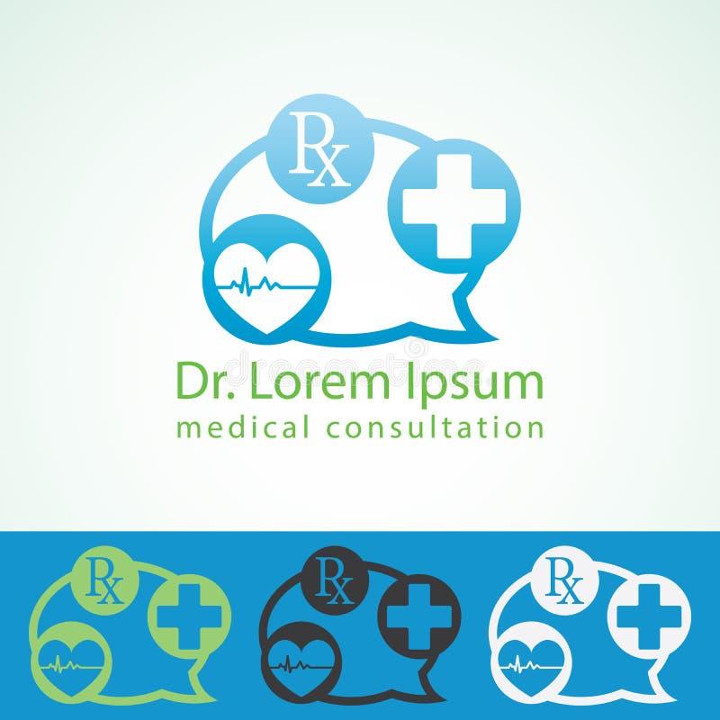 Medyczny apteka loga projekta szablon Student medycyny ikony przecinający serce z kardiogramem Doktorski konsultant tożsamości eg royalty ilustracja