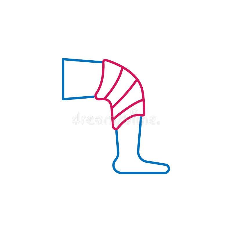 Medyczny, bandaż, noga barwił ikonę Element medycyny ilustracja Znaki i symbol ikona mogą używać dla sieci, logo, mobilny app ilustracji