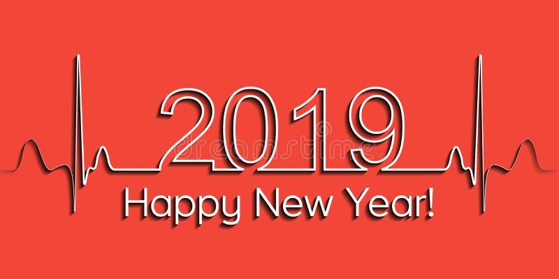 Medyczny Bożenarodzeniowy sztandar, 2019 szczęśliwych nowy rok, wektoru 2019 zdrowie medyczny stylowy bicie serca, pojęcie zdrowy royalty ilustracja