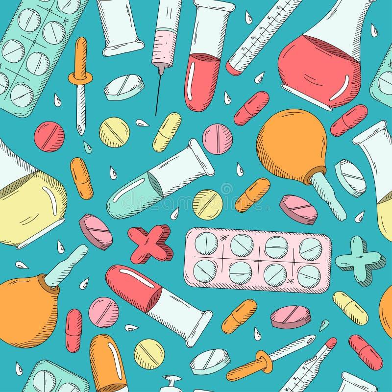 medyczny deseniowy bezszwowy ilustracja wektor
