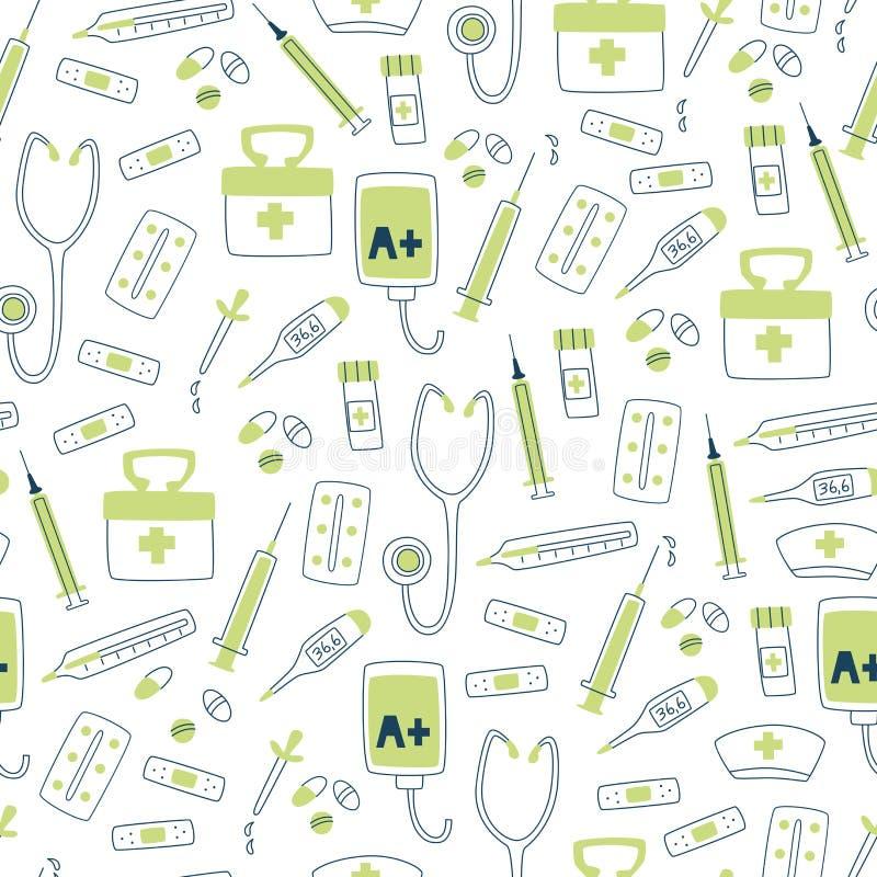 medyczny deseniowy bezszwowy Szpitalni elementy termometr, stetoskop, pastylki i strzykawka -, ilustracji