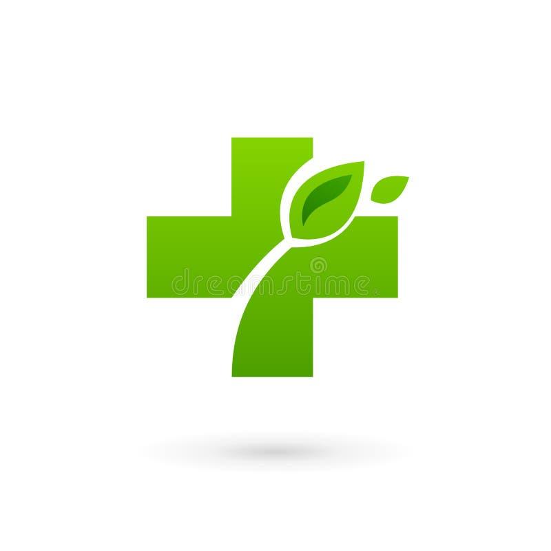 Medyczny eco loga ikony projekta szablon z krzyżem plus i royalty ilustracja